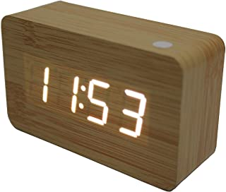 TODO White Led Wooden Alarm Clock + Temperature Display USB/Battery Wood White 6030