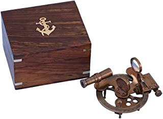 Hampton Nautical NS-0450-AN Antique Brass Sextant with Rosewood Box 5