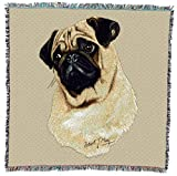 Pug - Robert May - Lap Square Cotton Woven Blanket Throw - Made in The USA (54x54)