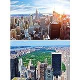 GREAT ART Set de 2 posters XXL - Vista Skyline de Nueva York - Pent-house & Central Park América Estados Unidos grandes ciudades viajes decoración de la pared foto póster (140 x 100 cm)