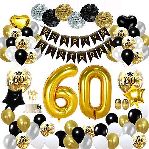 MMTX 60 Geburtstag Dekoration Schwarzes Gold, Geburtstag Party Deko mit Happy Birthday Banner Konfetti Luftballons Herz Folienballons für Mädchen JungenParty