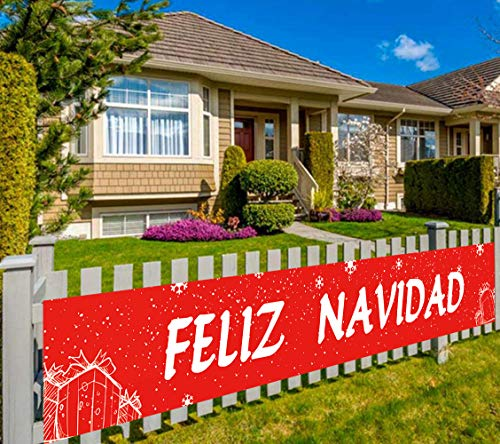 Colormoon Large Feliz Navidad Banner, Spanish Merry Christmas Banner, Holiday and Christmas Party Supplies Decorations, Indoor Outdoor (9.8 x 1.5 feet)