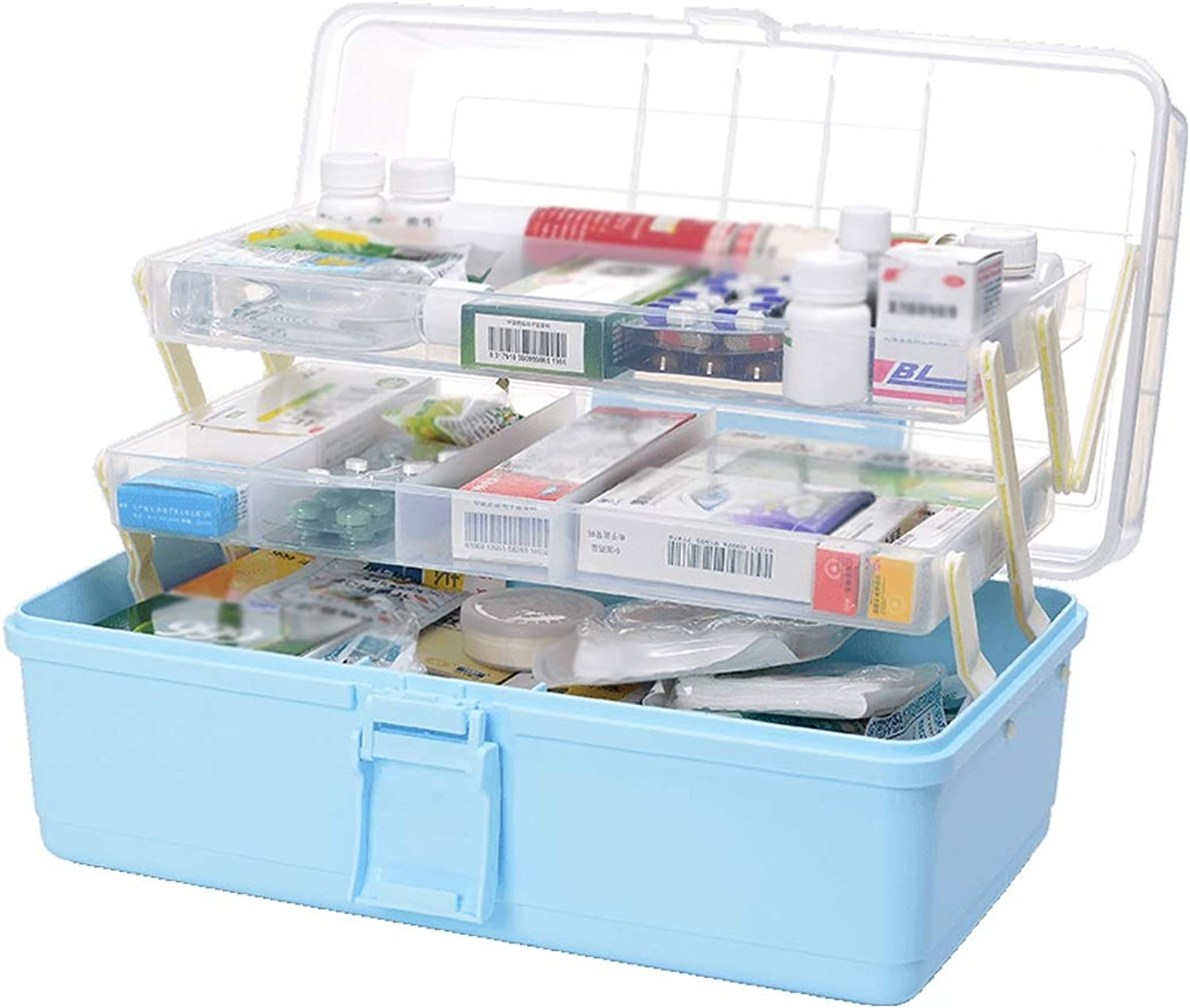 Djyyh First Aid Storage Box Medical Box, Three Layer Medical Storage First Aid Container Organizer for Home, Travel, Camping, Office and The Workplace (color   bluee)