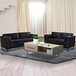 Recaceik 2 Piece Living Room Sofa Set Morden Style Couch Furniture Upholstered Sectional Loveseat for Office, Home (Black)