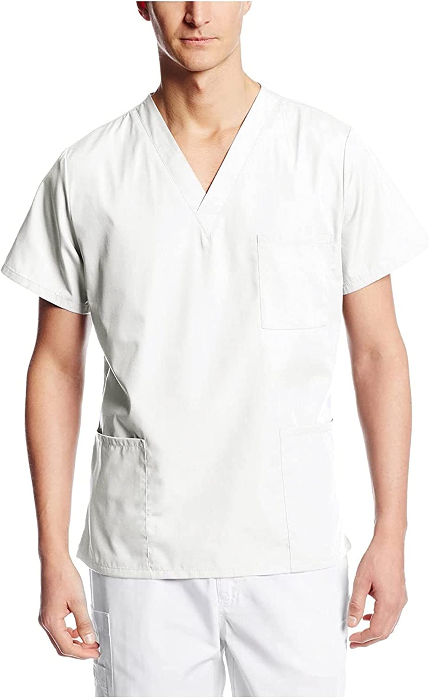 Men's Solid Scrub_Top Short Sleeve Nursing T-Shirt Pockets Worki