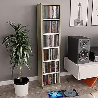 Disfruta Tus Compras con Estantería CDs de aglomerado Blanco y Roble Sonoma 21x16x88 cm