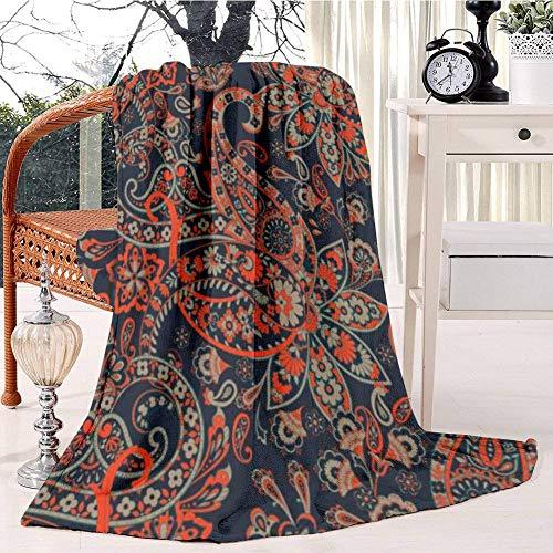 GOSMAO Mantas para Sofás Reversible de Franela/Sherpa Paisley Patrón Damasco Paisley,Manta para Cama de 100% Microfibra Extra-Manta de Felpa,102x127 cm