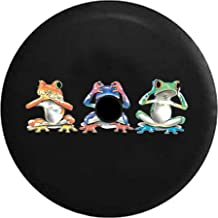 Pike Outdoors JL Series Spare Tire Cover Backup Camera Hole Hear See Hear No Evil Neon Tree Frogs Black 32 in