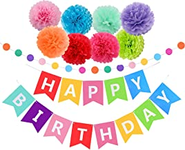Threemart Happy Birthday Decorations Banner with Tissue Pom Poms for Rainbow Birthday Party Supplies