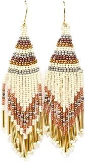 Sidecca Neutral Tone Glass Seed Bead Boho Fringe Chandelier Earrings
