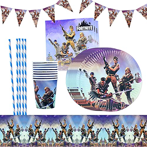 Yisscen Party Tableware Video Gaming Birthday Party Decorations Supplies Plates Cups Straw Napkin Tablespoon Fork Knife Banner Tablecloth 82pcs