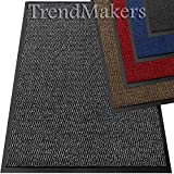 TrendMakers Machine Washable Grey Black Heavy Quality Non Slip Hard Wearing Barrier Mat. Available in 8 sizes (80cm x 120cm)
