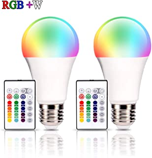 RGBW LED Bulbs, Remote Control 5W A19 E26 RGB Bulbs Dimmable, Daylight White 6500K and RGB Color Change Bulb for Home, Office, Stage, Bar and Party Egreat (2 Pack)