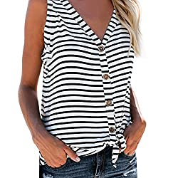 Rishine Boho Wavy Printed Crew Neck Flare Swing Sleeveless Tank Tops for Women Backless Vest