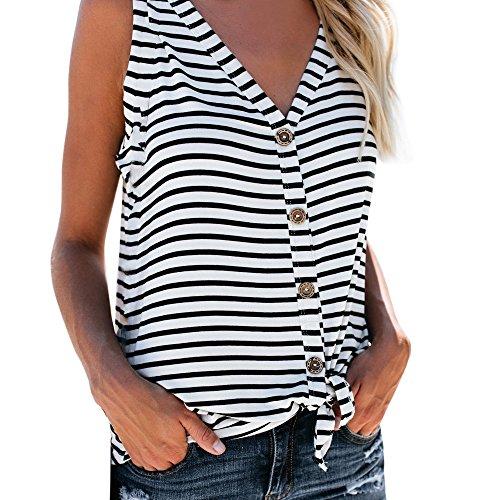 〓COOlCCI〓 Women Striped V Neck Sleeveless Button Front Tie Knot Tank Tunic Shirt White