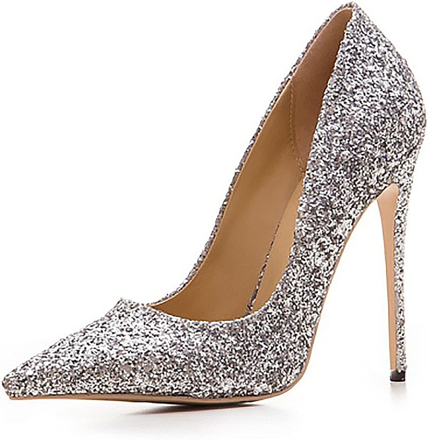 Themost Womens Glitter Sequins Studded High Heels Closed Pointy Toe Stiletto Wedding Party Pumps shoes