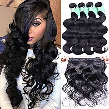 ANNELBEL Brazilian Hair 4 Bundles Body Wave 8A Virgin Unprocessed Human Hair Bundles Remy Human Hair Extensions Weave - Wavy Hair Double Weft Natural Black  10  50g /Bundle
