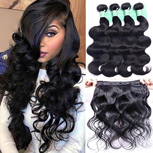 "ANNELBEL Brazilian Hair 4 Bundles Body Wave 8A Virgin Unprocessed Human Hair Bundles Remy Human Hair Extensions Weave - Wavy Hair, Double Weft, Natural Black, (10"", 50g)/Bundle"