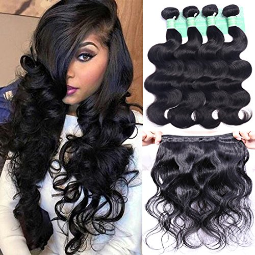 ANNELBEL Brazilian Hair Body Wave 4 Bundles 8A Virgin Unprocessed Human Hair Bundles Remy Human Hair Extensions Weave - Wavy Hair, Double Weft, Natural Black, (10', 50g)/Bundle