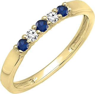 14K Round Gemstone & White Diamond 5 Stone Ladies Anniversary Wedding Band Ring, Yellow Gold