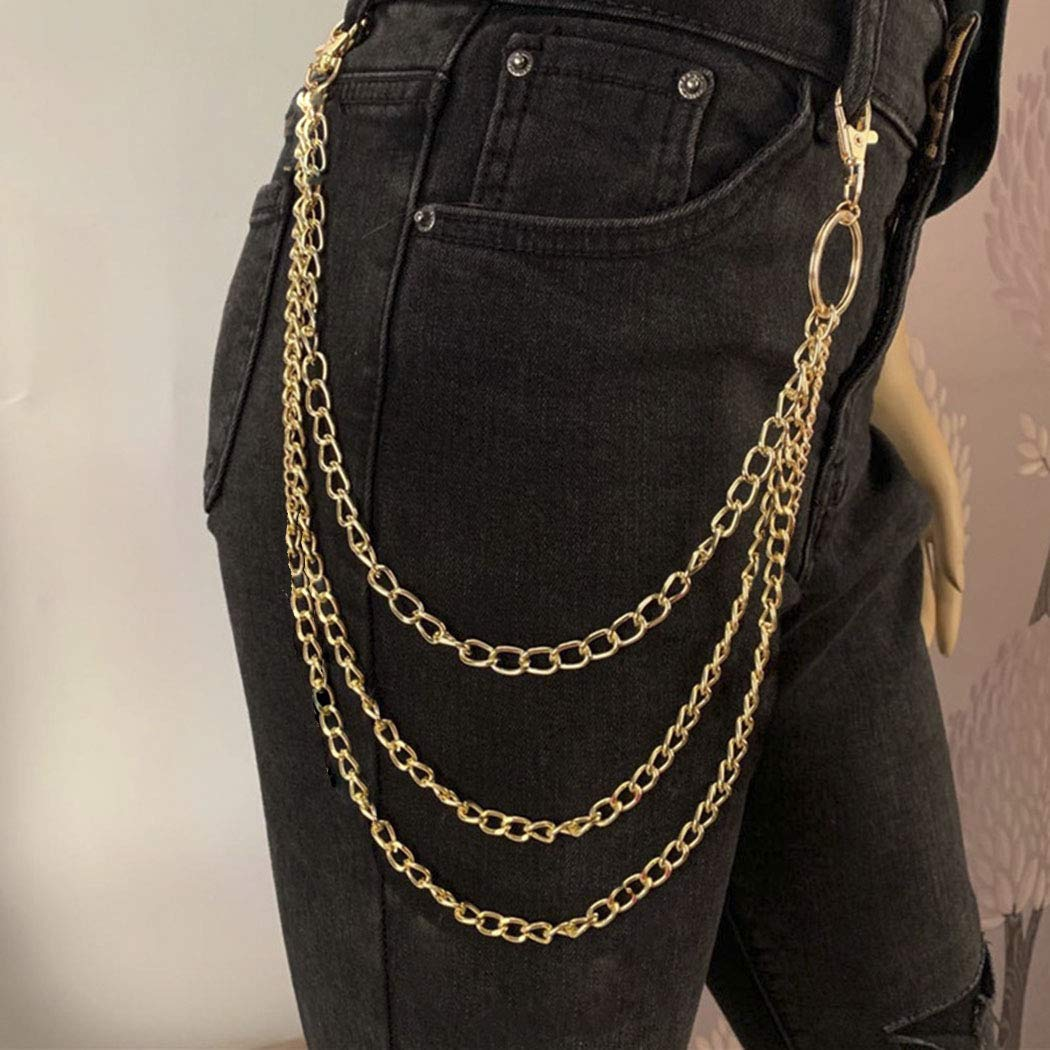 Zehory Layered Body Chain Punk Pants Chains Goth Hiphop Trousers Wallet Pocket Key Chain Jewelry for Women and Girls (Gold)