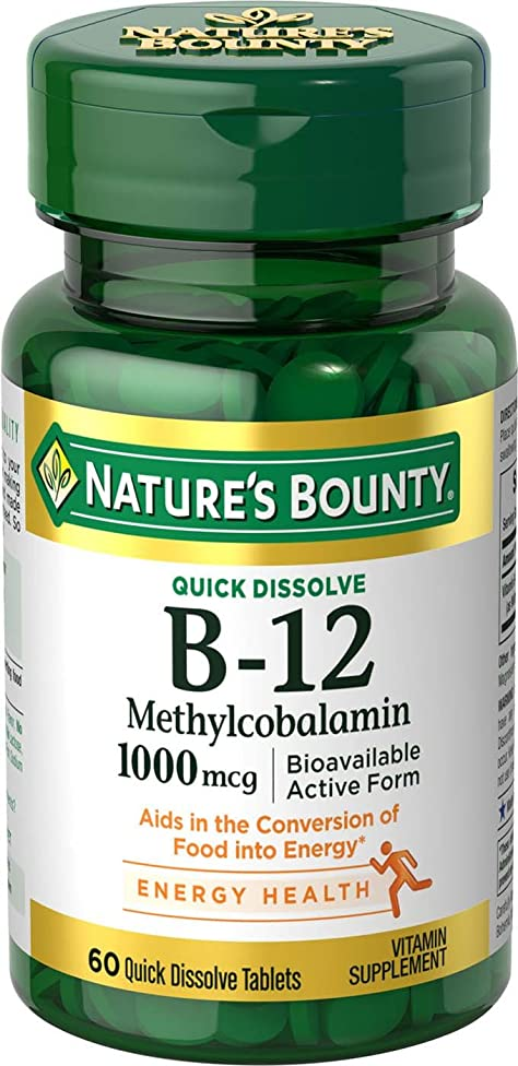Nature's Bounty Vitamin B12 Supplement, Supports Metabolism and Nervous System Health, 1000mcg, 60 Tablets