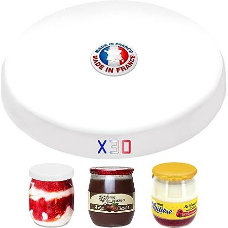 SPECIAL-DAY 30 couvercles universelles Dont 6 offerts pour Tous Les Pots de Yaourt de 143ml  Bouchon Pot de Yaourt la laitière   Capsules de Fabrication française