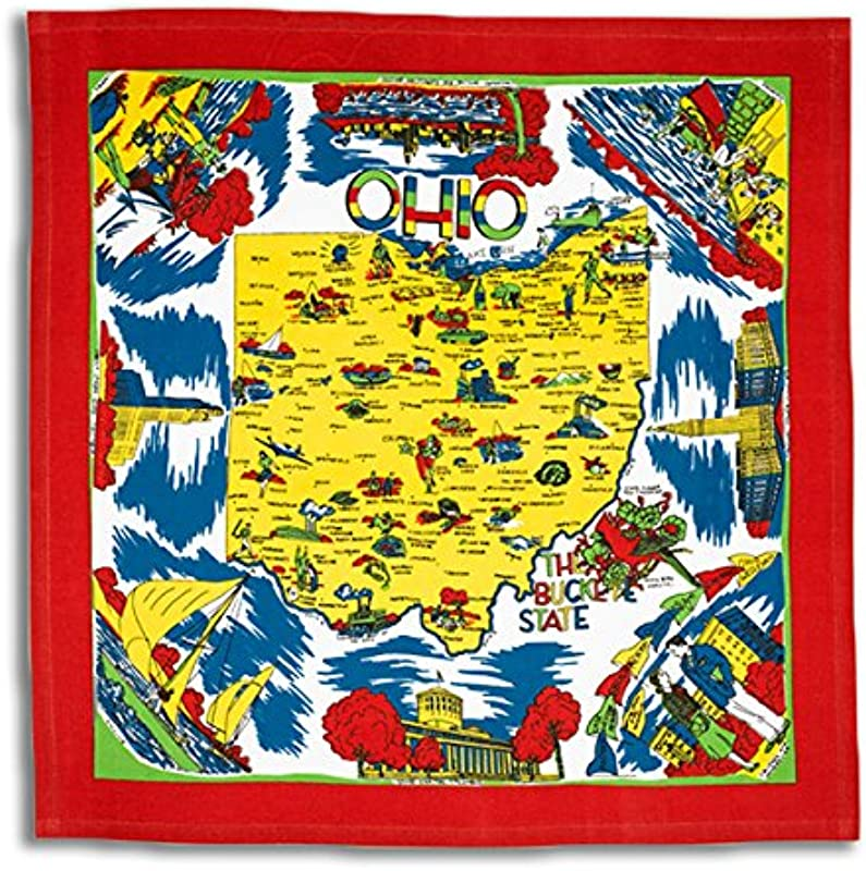 Red White Kitchen Ohio Map Kitchen Dish Towel State Souvenir Vintage Retro OH01 RWK