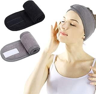 Facial Spa Headband - 2 Pcs Makeup Shower Bath Wrap Sport Headband Terry Cloth Adjustable Stretch Towel with Magic Tape