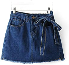 Women Summer Regular Short Pants Mid Waist Casual Jeans Shorts with Bow