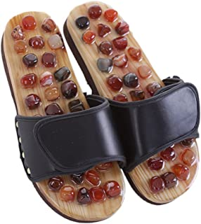 MineSign Foot Massager Slippers Plantur Arch Pain Massage Adult Shoes Agate Stone Acupressure Wooden Shoe