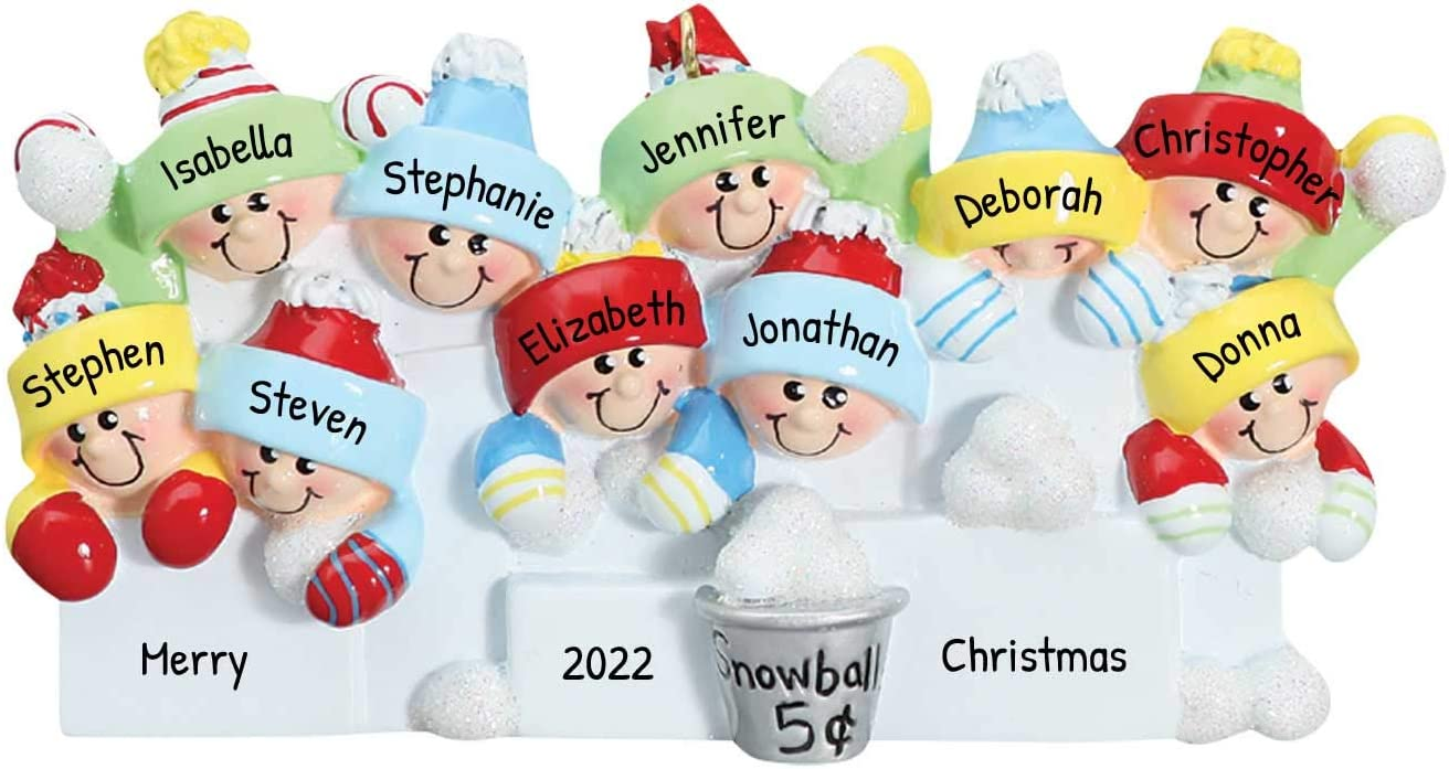 Personalized Snowball Family of 10 Christmas Tree Ornament 2020 - Happy Fun Children Sibling Santa Hat Play White Tradition Winter Activity Fight Babies Grand-Children Grand-Kids - Free Customization