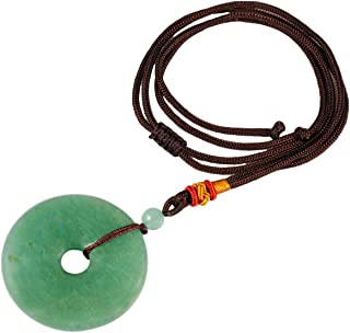 TUMBEELLUWA Healing Stone Pendant Crystal Necklace Chakra Quartz Cord Donut Shape Lucky Amulet Handmade Jewelry for Women Men