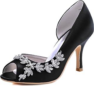 ElegantPark Women Peep Toe Rhinestones Pumps High Heel...