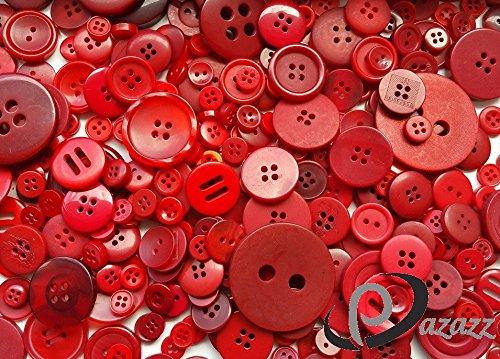 1 kg Rouge mixte boutons de différentes tailles, formes, couleurs et design Par sac