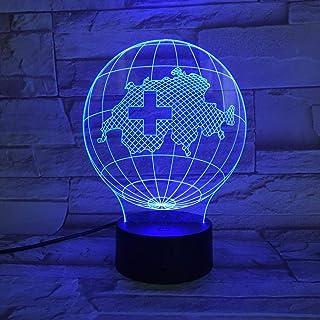 HOHHJFGG Land Map Earth 3D Light Illusion Night Light LED Bulb Multicolor Flash Fading Vacation Swiss Home Interior Design