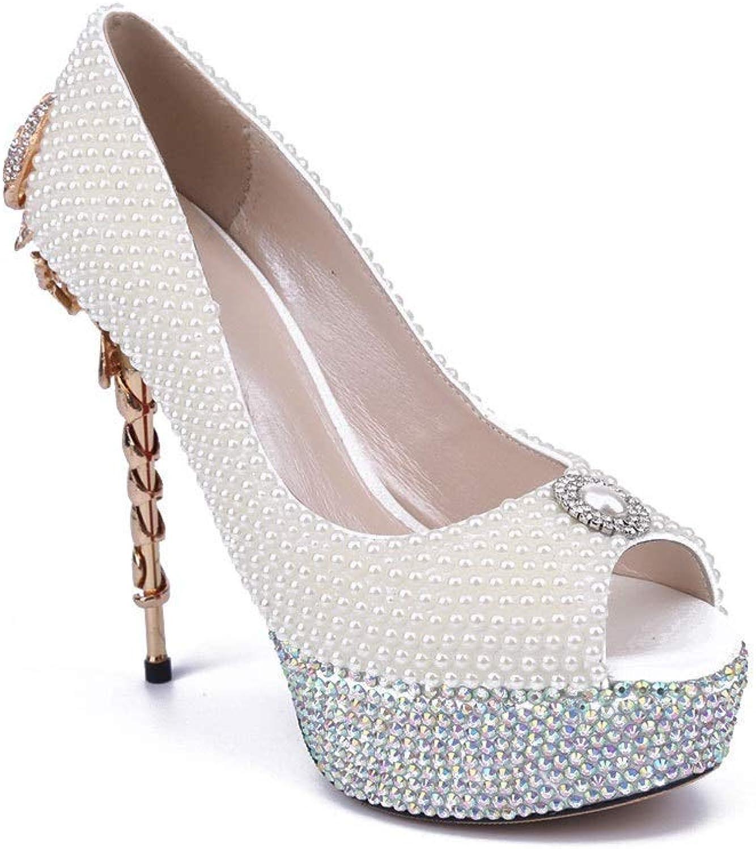Lindarry Pearls Pumps for Women Open Toe Rhinestones Scorpion Decor on Heels Patform Sandals Slip on Wedding shoes Fashion (color   White, Size   10.5 M US)