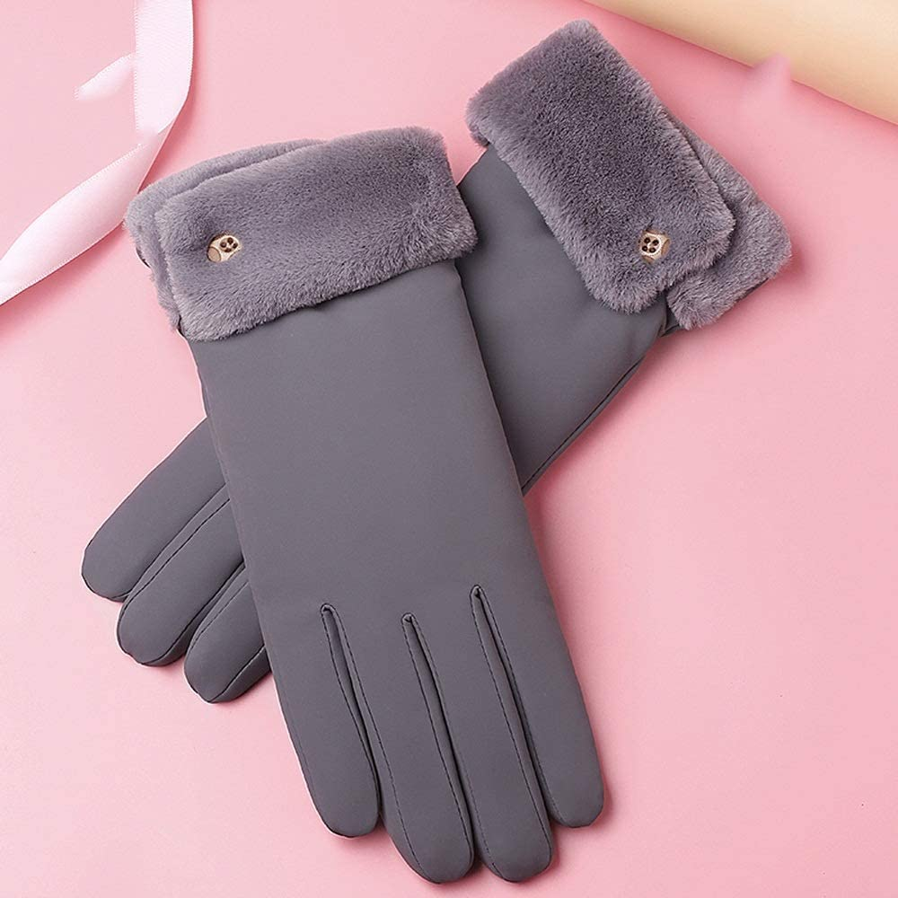 HQSW JL BC Cute Plush Warm Winter Cold Touch Screen Plus Thick Velvet Waterproof Windproof Cycling Gloves Ms. A+++ (Color : C)