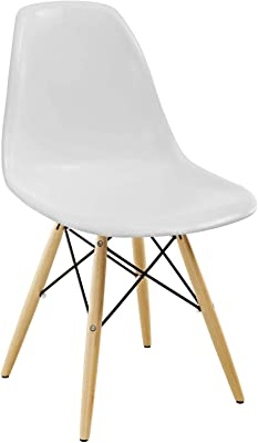 Modway Pyramid Mid-Century Modern Kitchen and Dining Room Chair with Natural Wood Legs in White