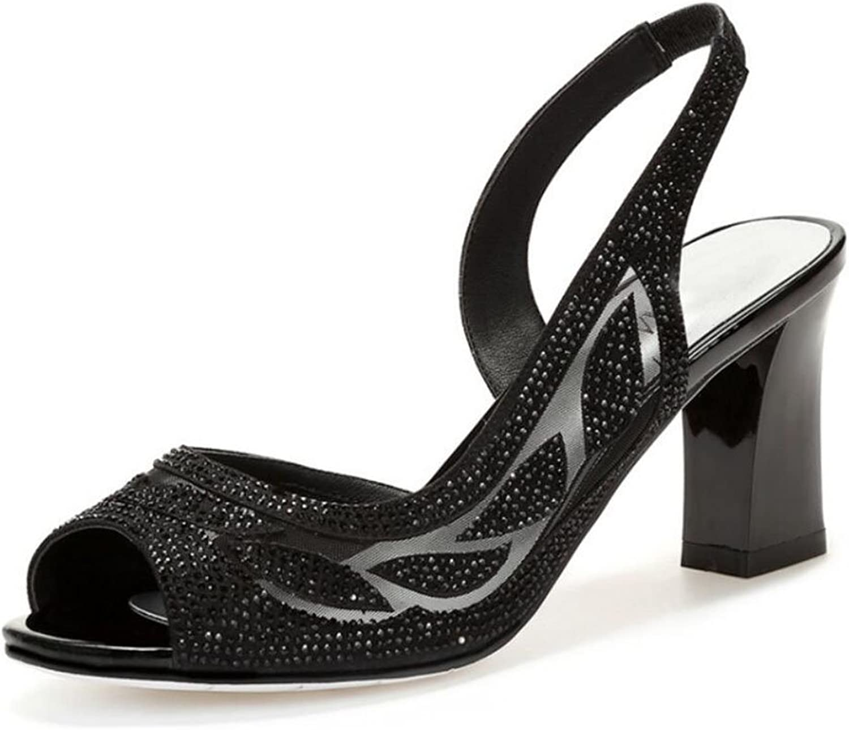 LOHU Frauen Damen Mesh Open Toe Sandalen Sommer High Heels Dick Mit Strass Fashion Hohl Schuhe GlamGoldus Pumps