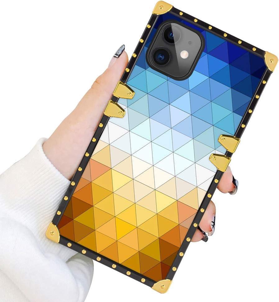 Square Case for iPhone 11 2019 6.1 Inch Geometric TextureLuxury Elegant Soft TPU Shockproof Protective Metal Decoration Corner Back Cover Case iPhone 11 Case