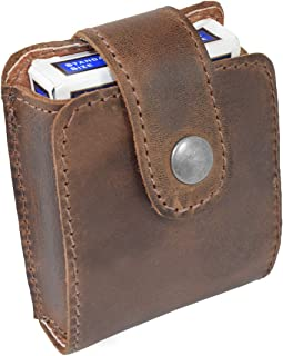 Hide & Drink, Rustic Leather Single Deck Holder / Board Games Card Case Handmade :: Bourbon Brown