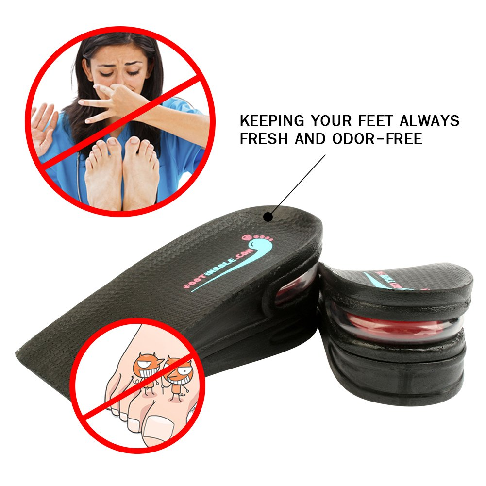 """footinsole Air up Height Increase Elevator Shoe Insoles Heels Inserts for Men and Women (2 Layers ( 2"""" UP))"""