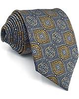 SHLAX&WING Silk Skinny Ties for Men Grey Blue Neckties Geometric 2.36 inches