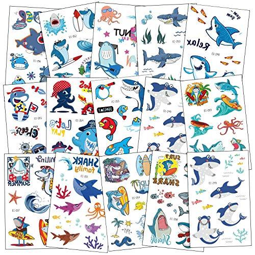 SZSMART Tiburón Tatuajes Temporales para Niños Niñas, Delfines Tatuajes Tatoos Tatuaje Falso Pegatinas para Chicos Fiesta de Cumpleaños Regalo, 15 Hojas