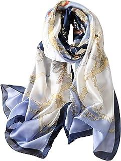 YMXHHB أزياء الأوشحة وشاح 100٪ حريري يشعر وشاح الحرير مثل الأوشحة طويلة خفيفة الوزن واقية من الشمس للنساء