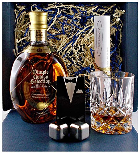 Geschenk Dimple Golden Selection Scotch Whisky + Glas + 2 Whiskey Kühlsteine