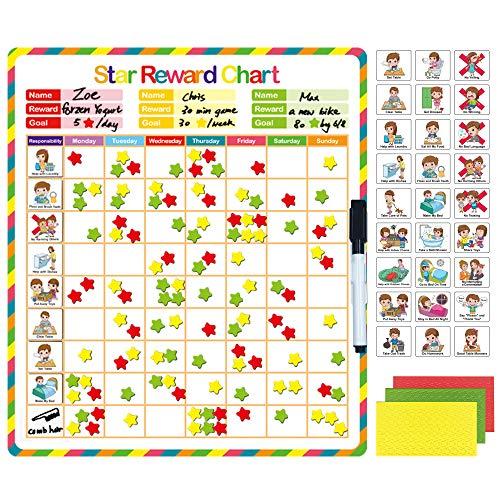 Kanru Chore Chart for Kids, Behavior Chart for Kids, Responsibility Chart, Reward Chart, Incentive Chart, Star Chart, Dry Erase Chart | Magnetic Reward Chart for Multiple Kids | Accommodate 1-3 Kids
