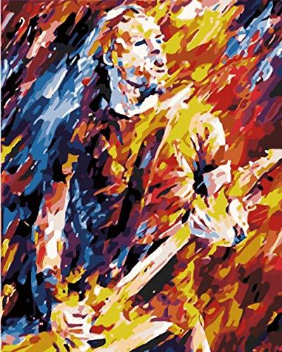 FBDBGRF Pintar por Número Kits De Pintura En Lienzo, para Niños Adultos Principiantes con Pinceles Y Pigmentos Acrílicos Artesanía 40Cm X 50Cm (Sin Marco) Hombre Y Violín