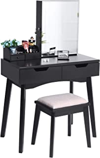 BEWISHOME Makeup Vanity Table Set, Lockable Jewelry Cabinet with Mirror Desk, Makeup Organizer, Cushioned Stool, 2 Sliding Drawers Vanity Desk Dressing Table Black FST04H